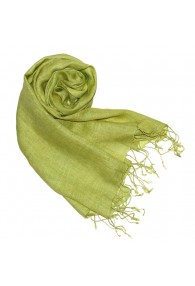 Women's Scarf 100% Linen Unicolored Green LORENZO CANA