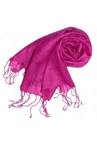 Women's Scarf 100% Linen Unicolored Pink LORENZO CANA