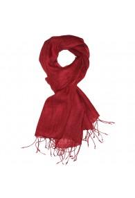 Men's Scarf 100% Linen Unicolored Dark Red LORENZO CANA