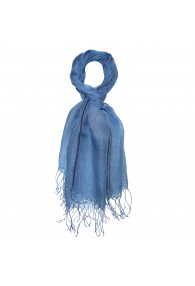 Herrenschal 100% Leinen Zweifarbig hellblau blau LORENZO CANA