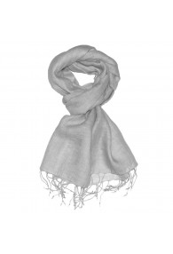 Men's Scarf 100% Linen Unicolored Silver LORENZO CANA