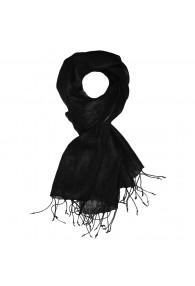 Men's Scarf 100% Linen Unicolored Black LORENZO CANA