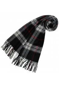 Ladies Shawl Wool Cashmere Black White Red LORENZO CANA