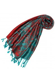 Scarf 100% Modal Red Turquoise Floral LORENZO CANA