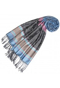 Scarf Modal Elephant Pattern Light Blue Pink LORENZO CANA