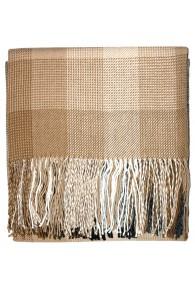 Blanket 100% Alpaca Fair Trade Brown White Checked LORENZO CANA