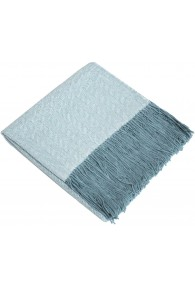 Blanket 100% Alpaca Fair Trade Blue White Rough pattern LORENZO CANA