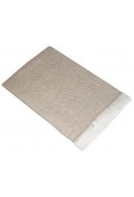 Sofa Blanket 100% Cashmere Light Brown White Stripe LORENZO CANA