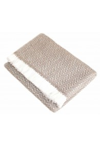 Cashmere blanket light brown white stripes LORENZO CANA