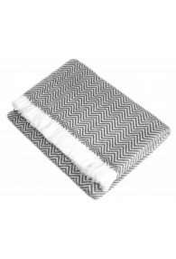 Cashmere Blanket Grey White Stripes LORENZO CANA