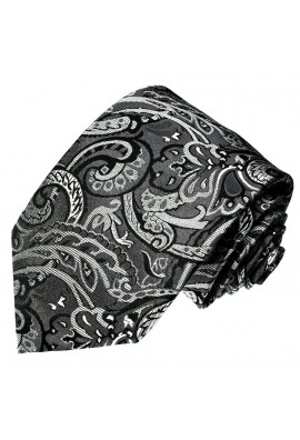 Men's Necktie Pure Silk Floral Grey Black LORENZO CANA