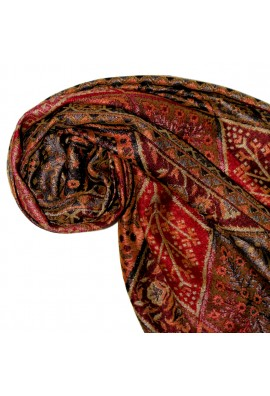 Shawl Silk Wool Paisley Red Brown For Women LORENZO CANA