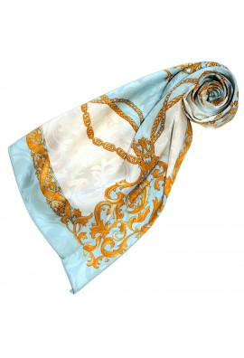 Ladie's Shawl Blue White Gold Silk Floral LORENZO CANA